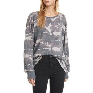 Free People Arielle Printed Long Sleeve Camo Top